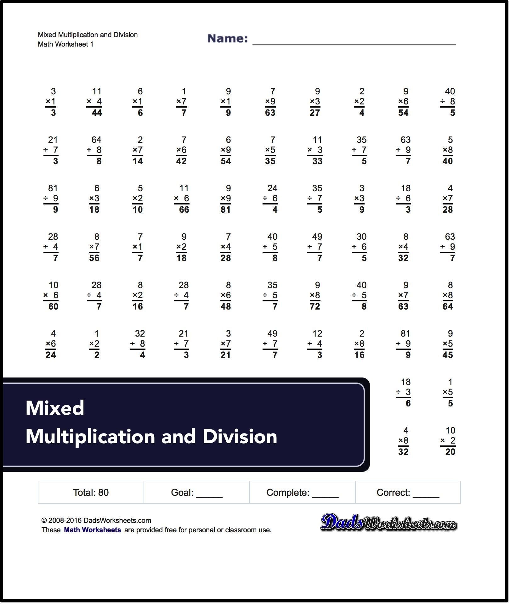 Multiplication Division Worksheet Math Answer