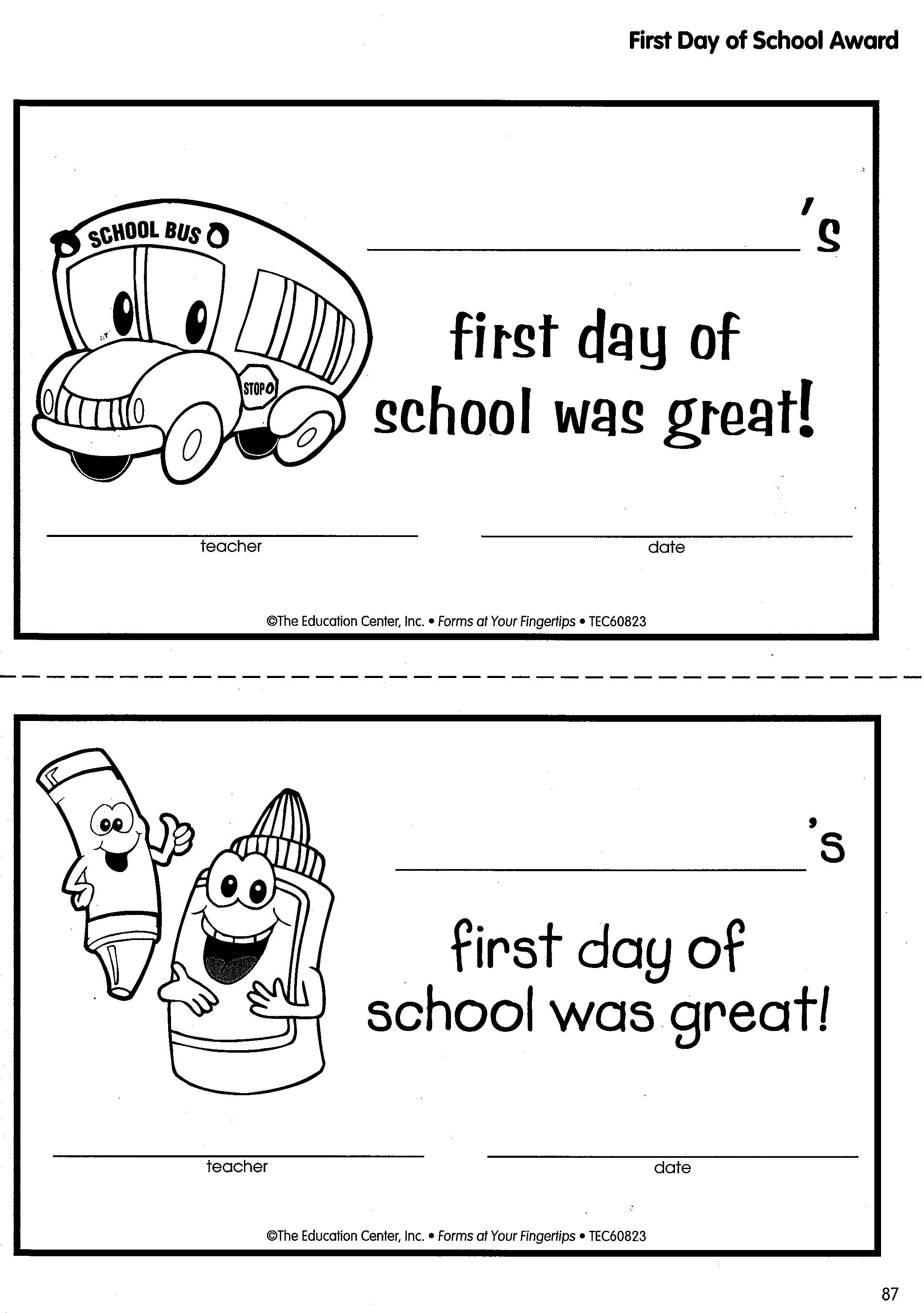 First Day Of School Awards