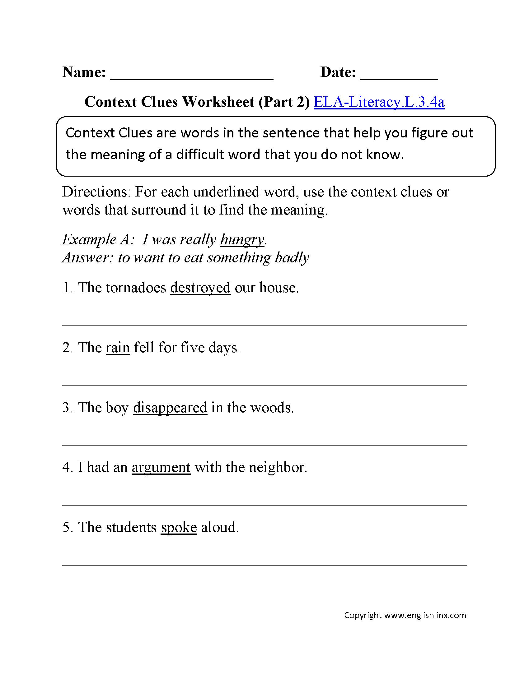 Context Clues Worksheet 2 Ela Literacy L 3 4a Language Worksheet