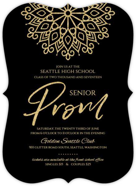 Elegant Faux Gold Glitter Senior Prom Invitation Prom