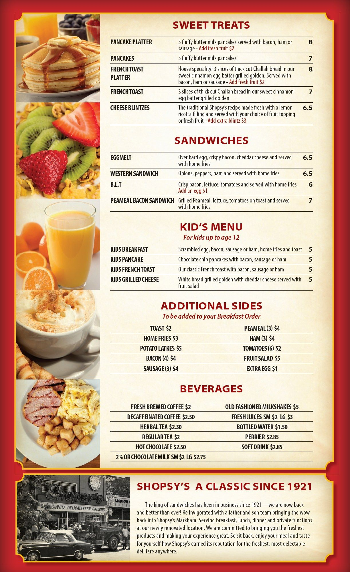 Shopsys Deli Breakfast Menu Restaurant Menus of Toronto