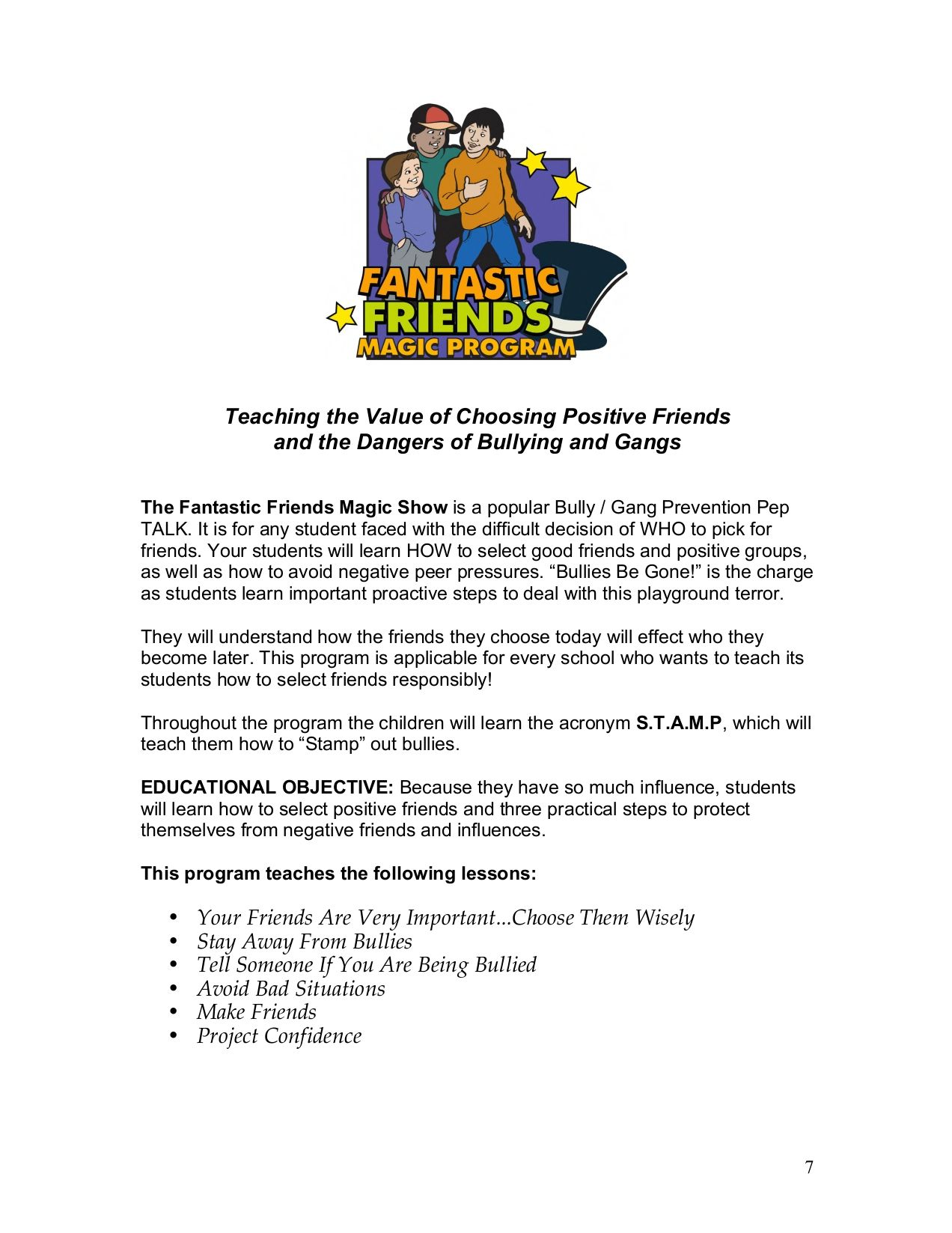 Gang Prevention Worksheet