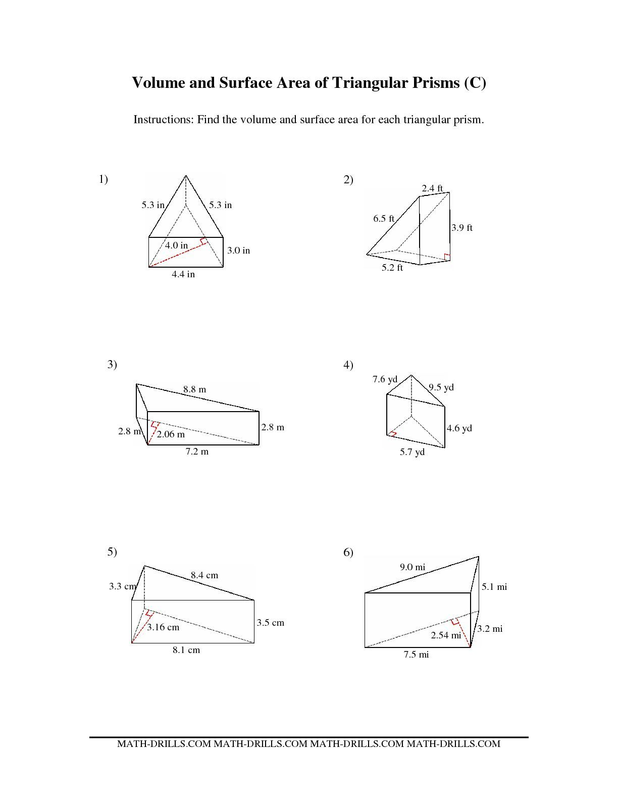 The Volume And Surface Area Of Triangular Prisms C Math Worksheet From The Measurement