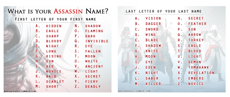 What's Your Name Generator What's your Assassin name? by