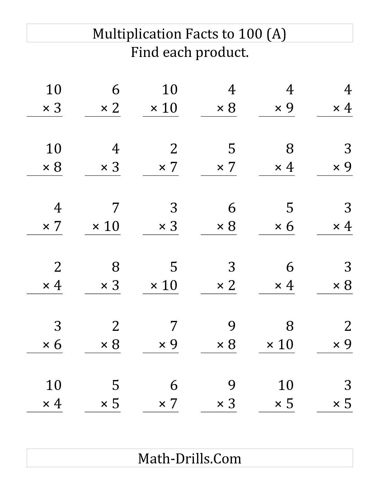 The Multiplication Facts To 100 No Zeros Or Ones 36 Questions Per Page A Math Worksheet From