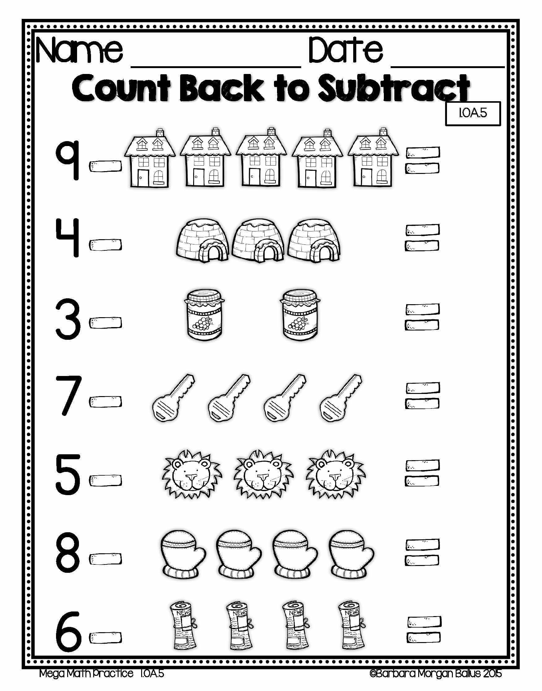 Counting Backwards Worksheet Year 1