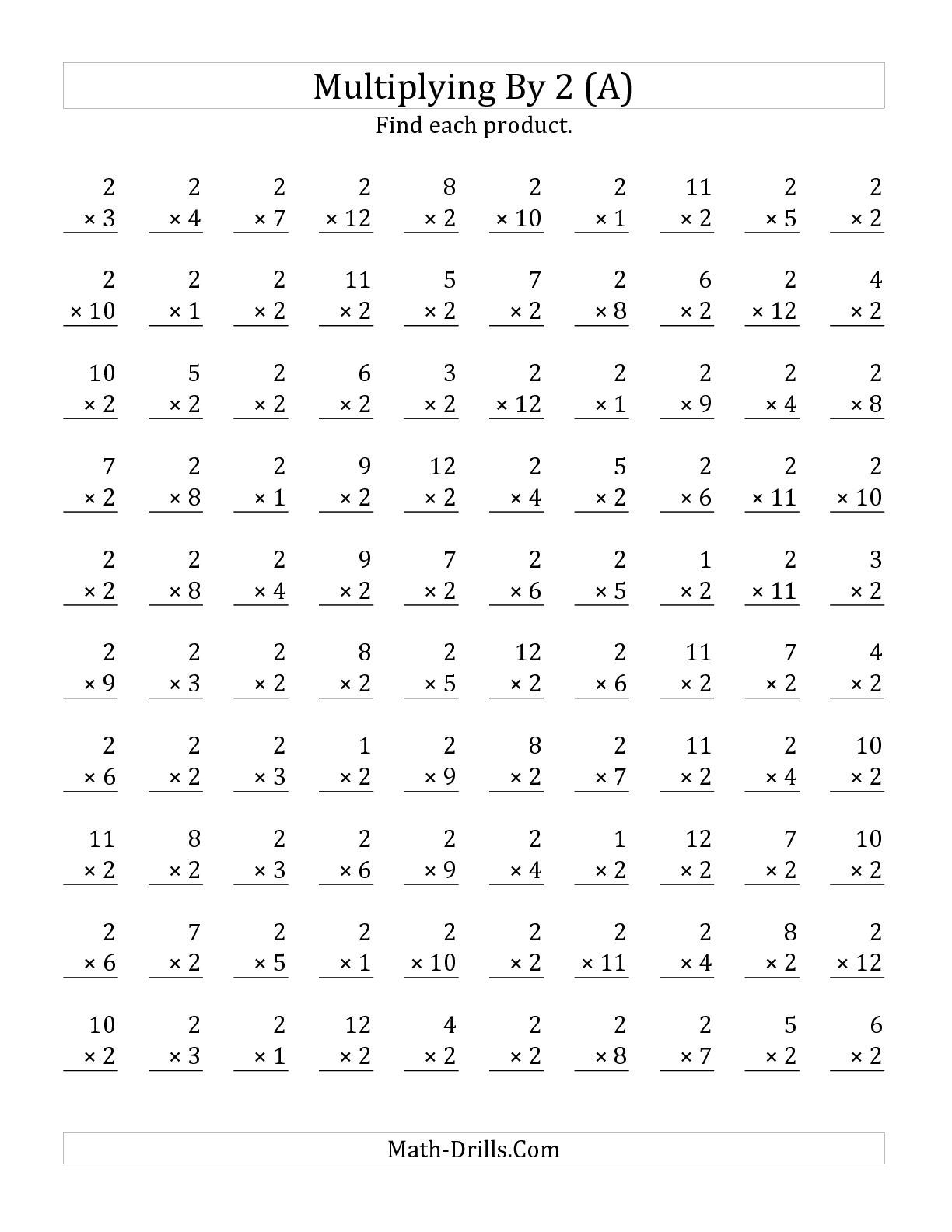 The Multiplying 1 To 12 By 2 A Math Worksheet From The