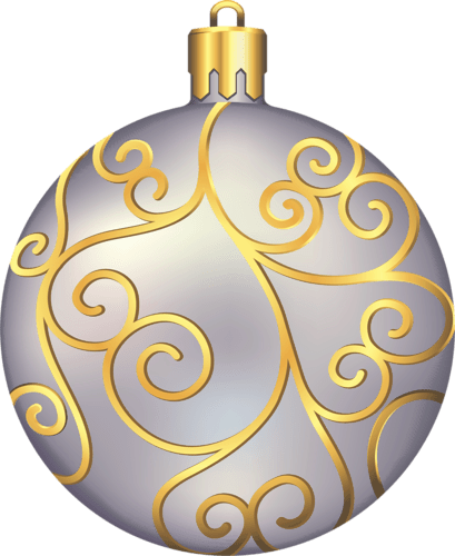 Large Transparent Silver and Gold Christmas Ball