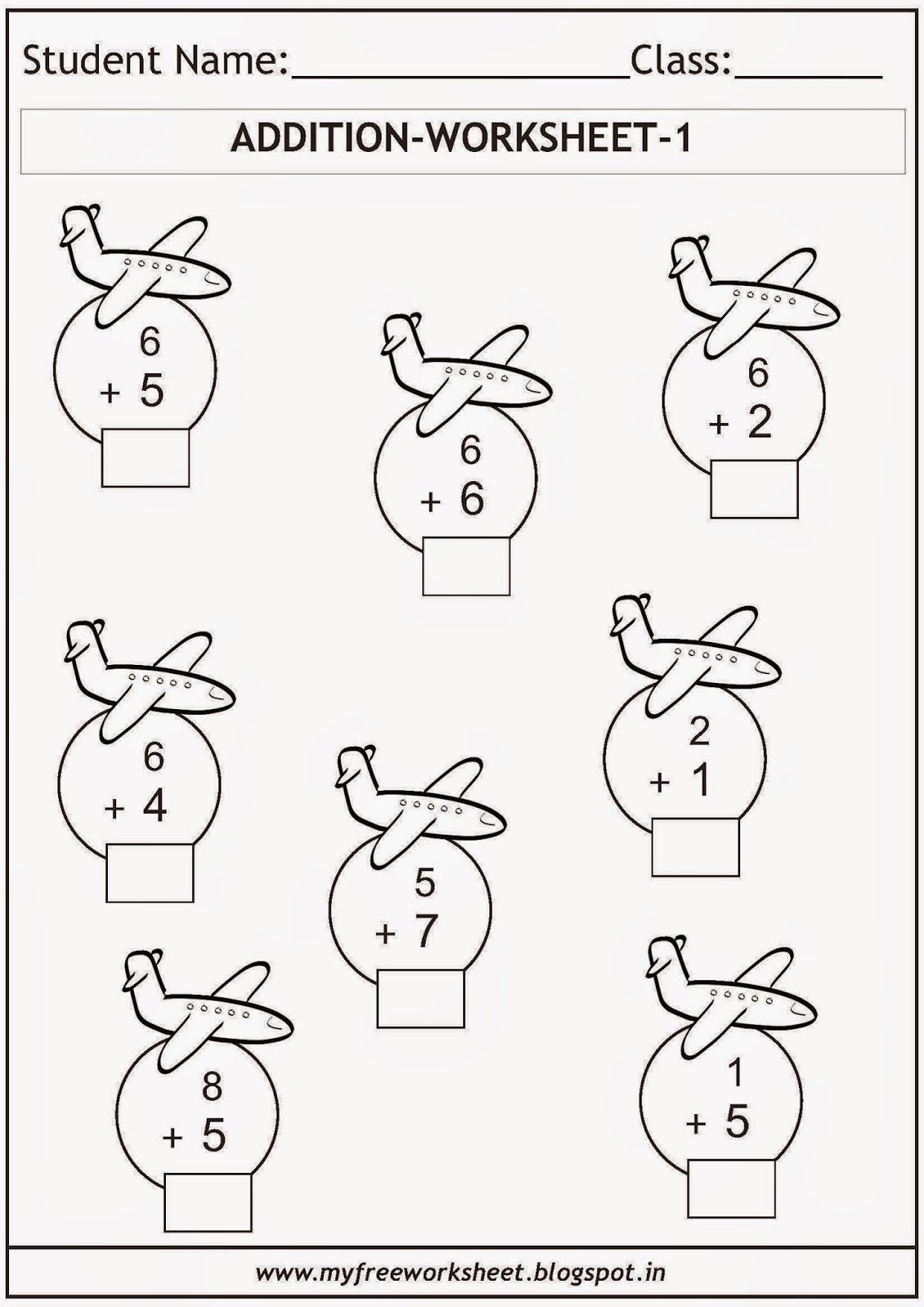 Free printable math worksheets for grade 1 kids. Includes