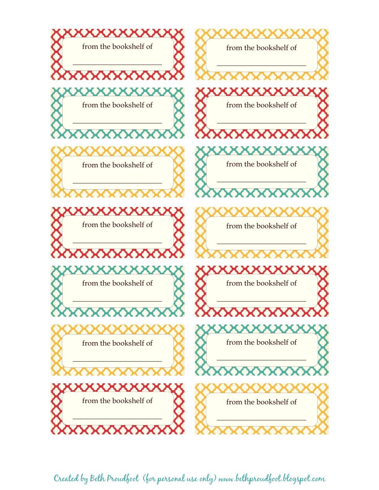 Free Print Book Labels