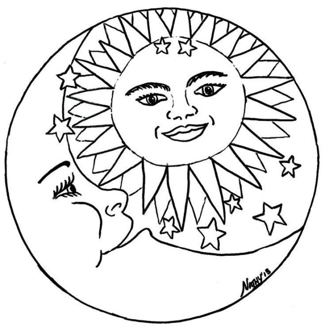 Coloring Pages Sun Moon Pagan Sketch Page