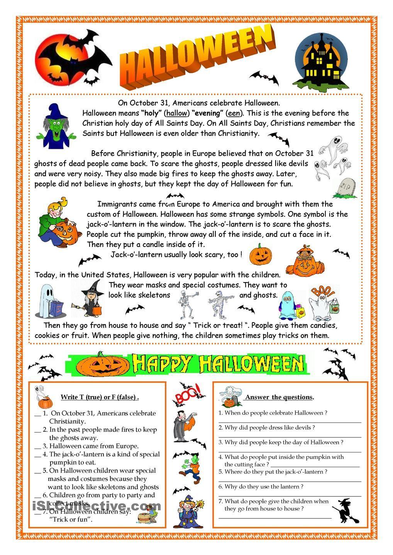 Halloween reading Englanti Pinterest English