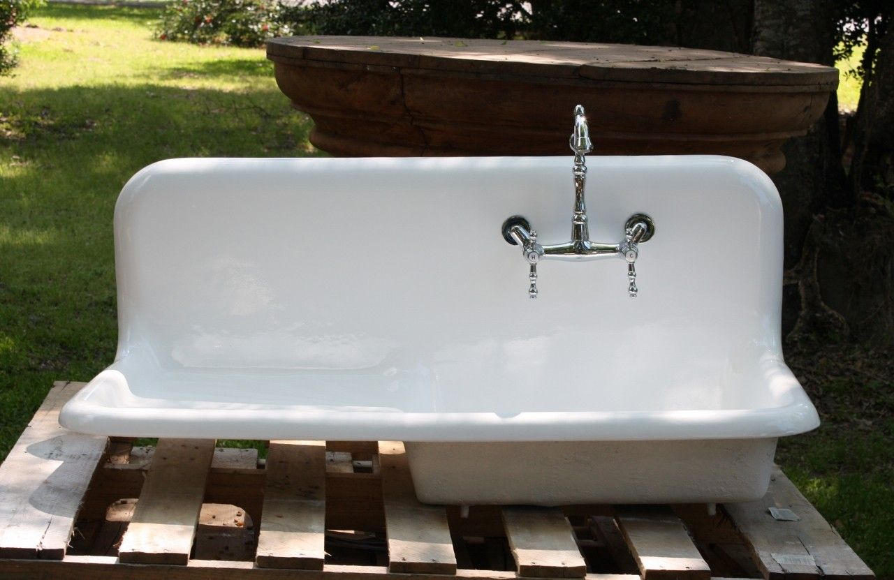 1920's Cast Iron Porcelain Drainboard Farmhouse Sink, (42