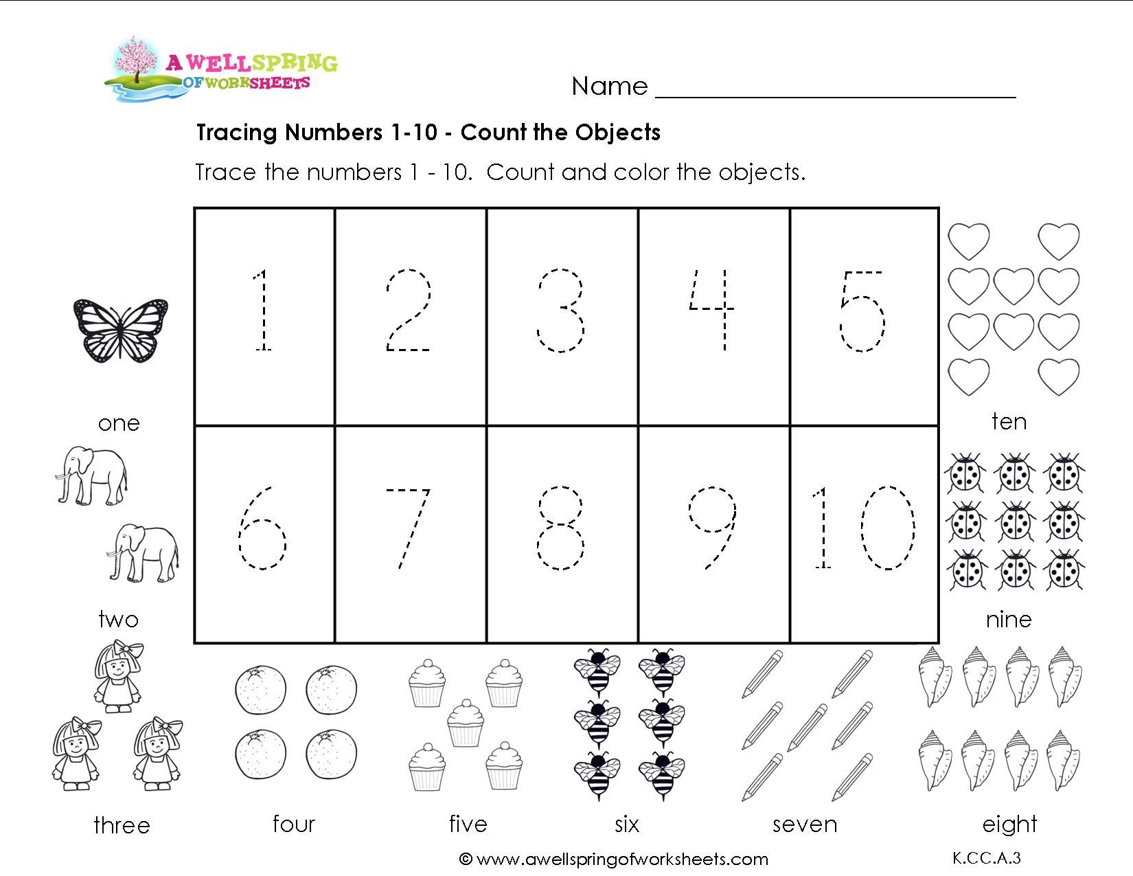 Tracing Numbers 110 Teaching Pinterest Worksheets