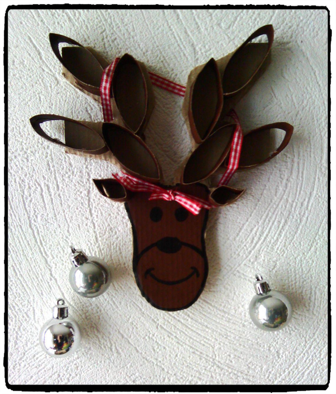 bricolage de noel, renne décoré, renne de noel, rouleau de