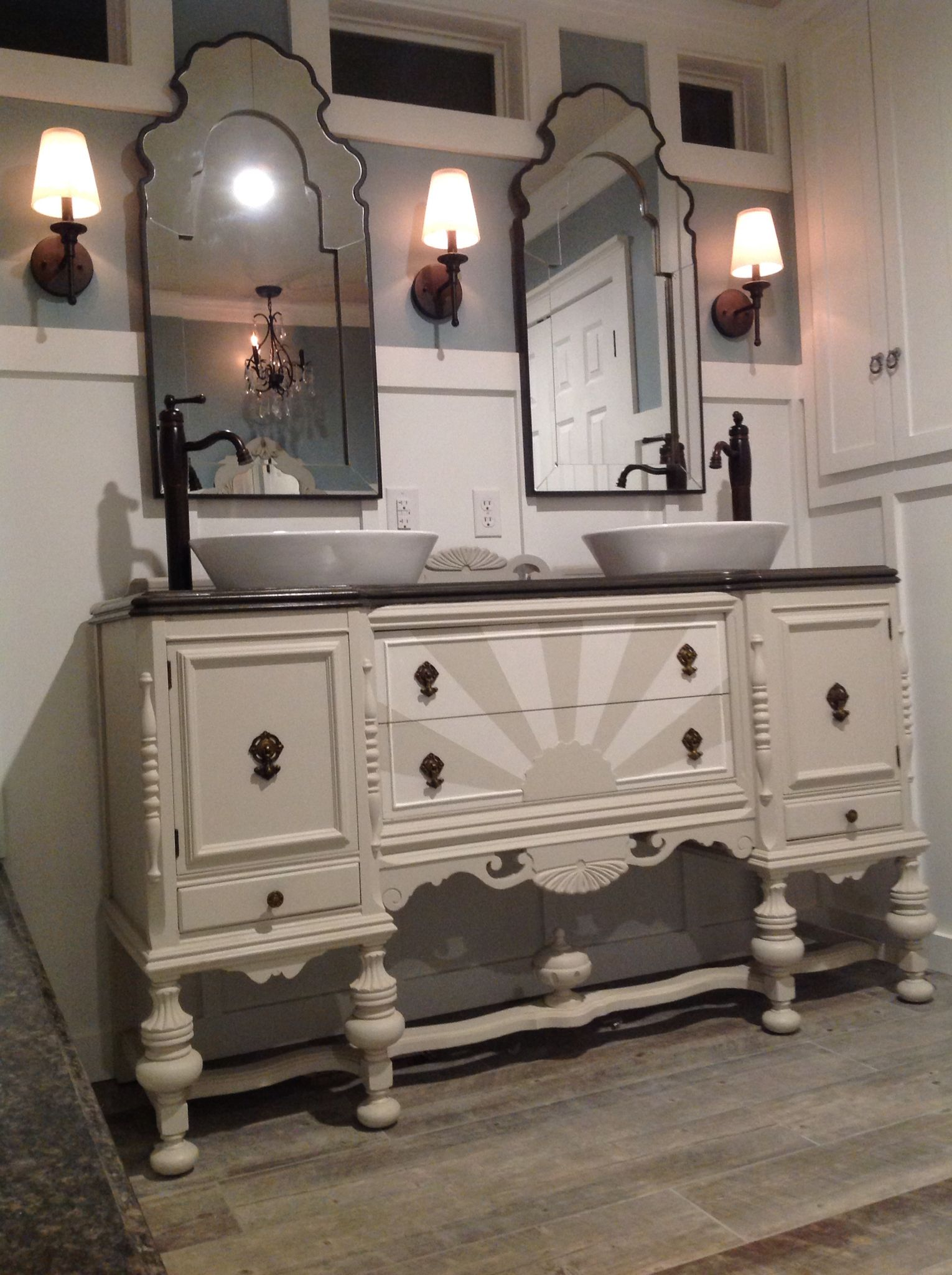 Our antique sideboard buffet repurposed into a bathroom