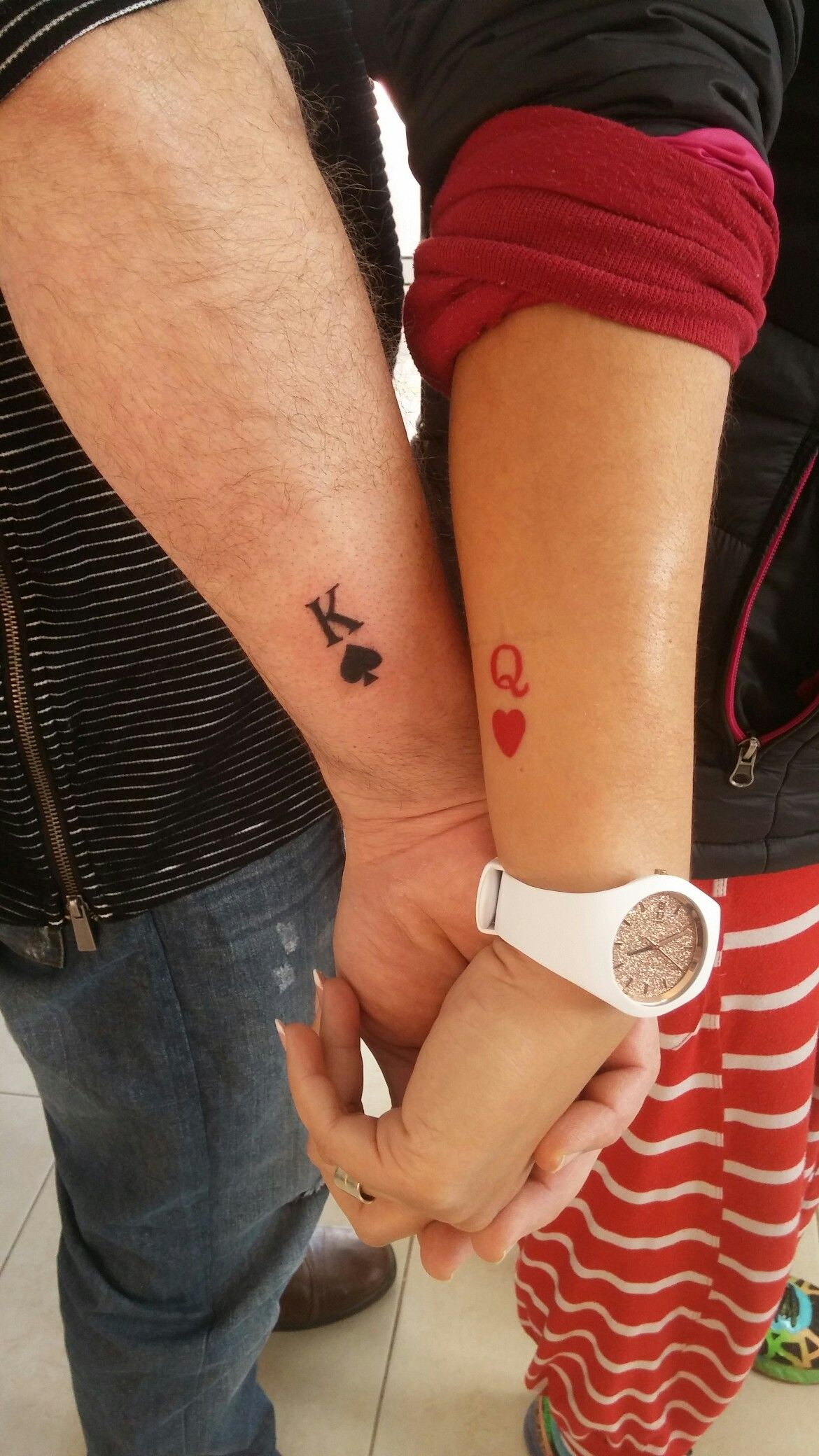 Small couple tattoo King & Queen tattoos Pinterest
