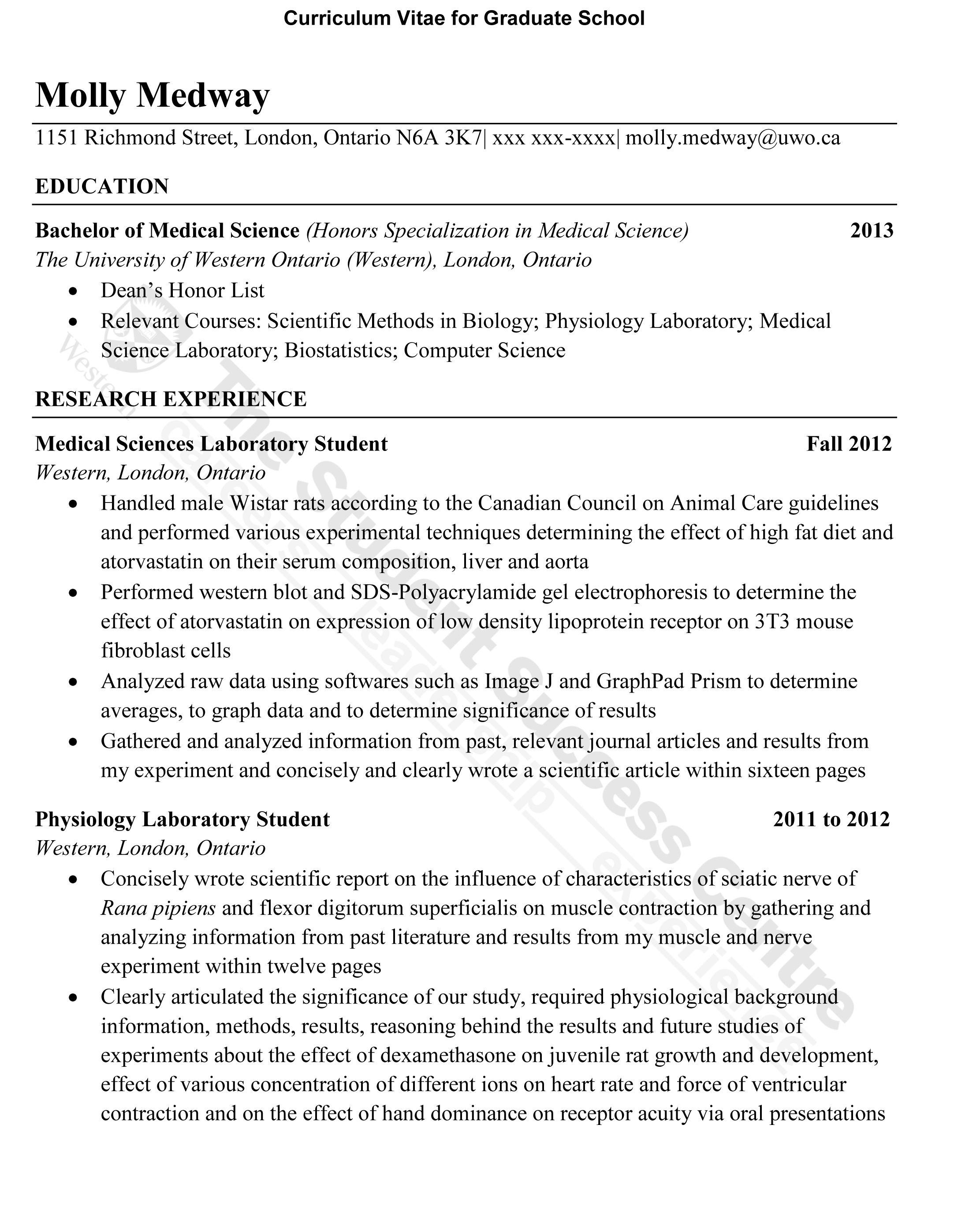 Grad school admission resume