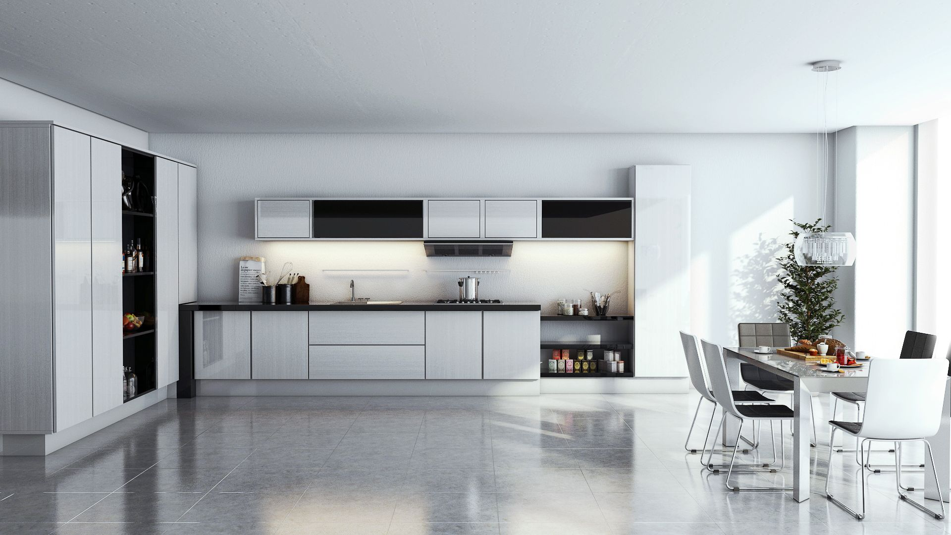 Interior Design Kitchen and Dinning Room 3ds Max