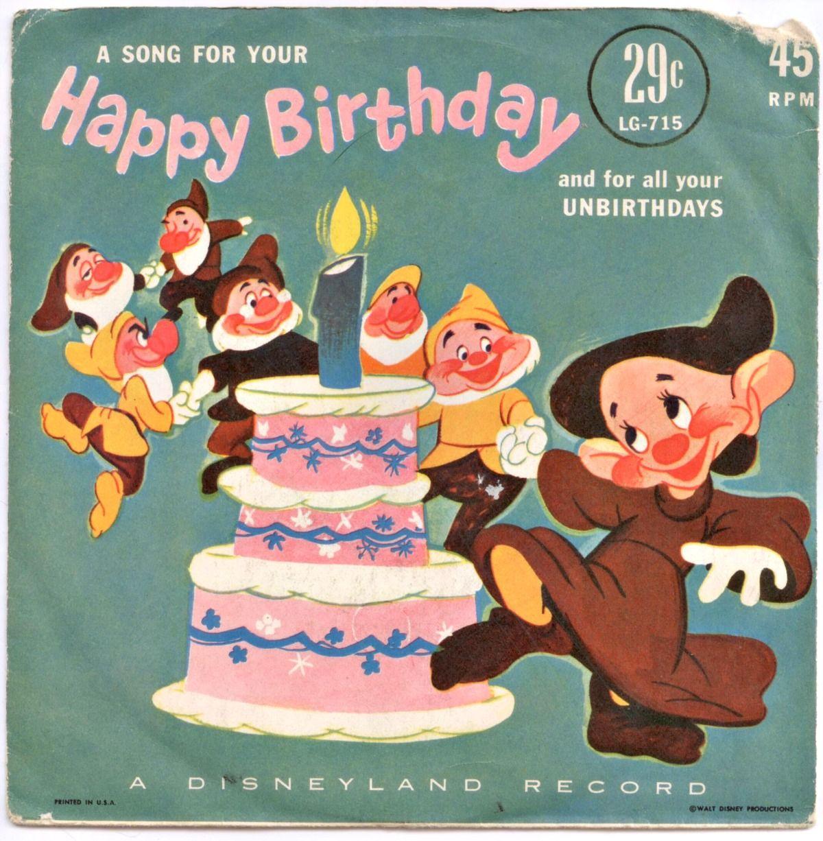 "Happy Birthday, A Disneyland Record 7"" Disney Records"