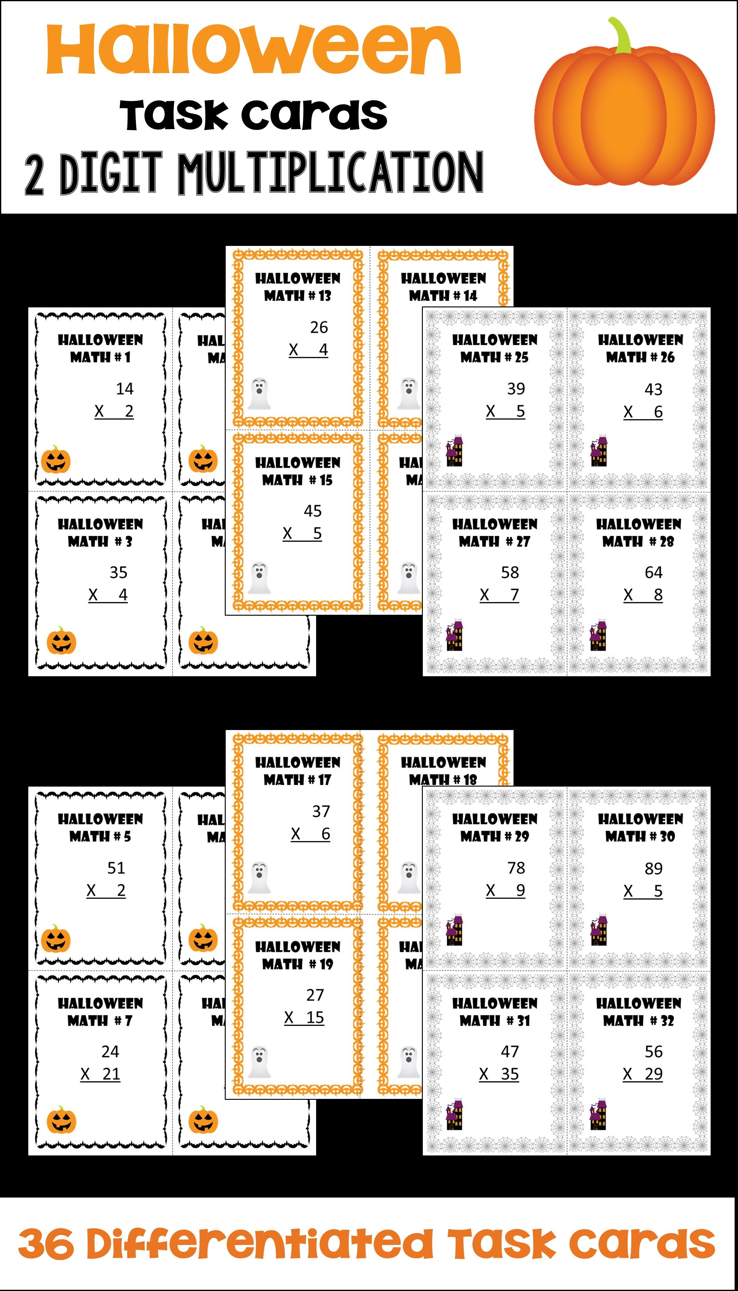 Halloween Math 2 Digit Multiplication Task Cards Differentiated