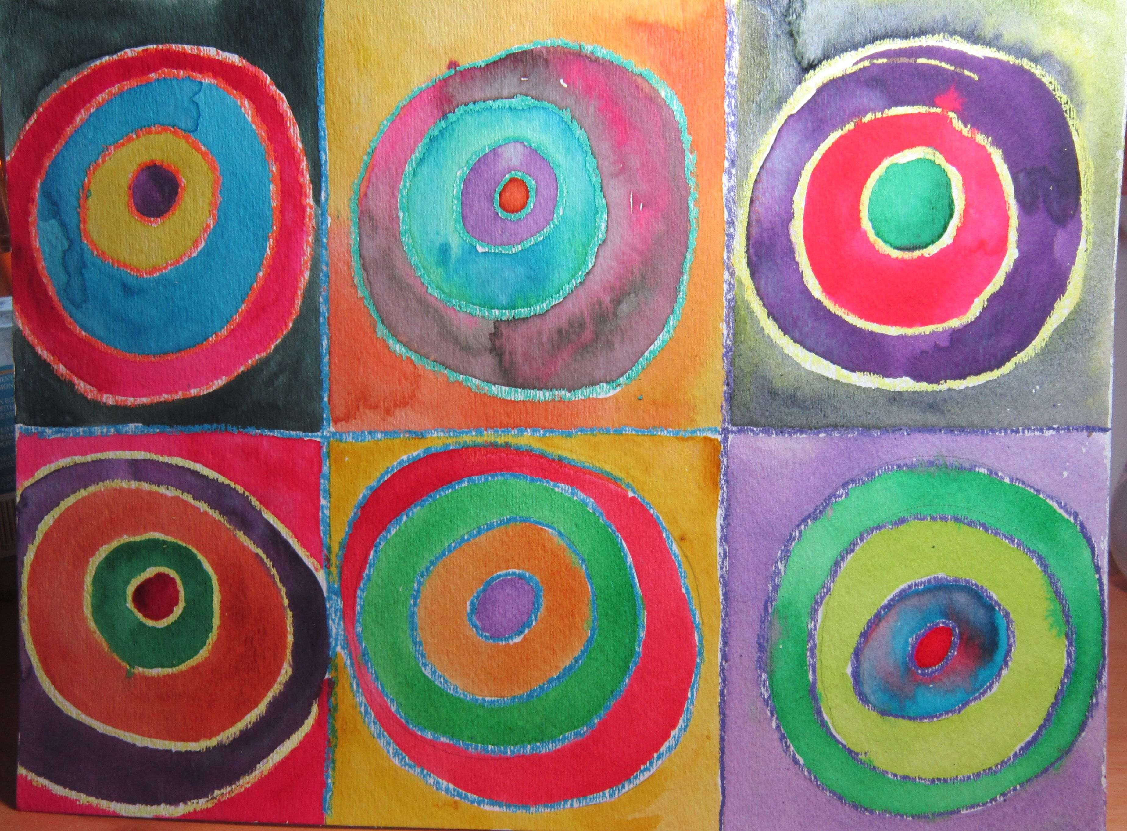 Inspired By Paul Kandinsky Using Crayons To Contain The Rings Of Watercolor Paint I Love It