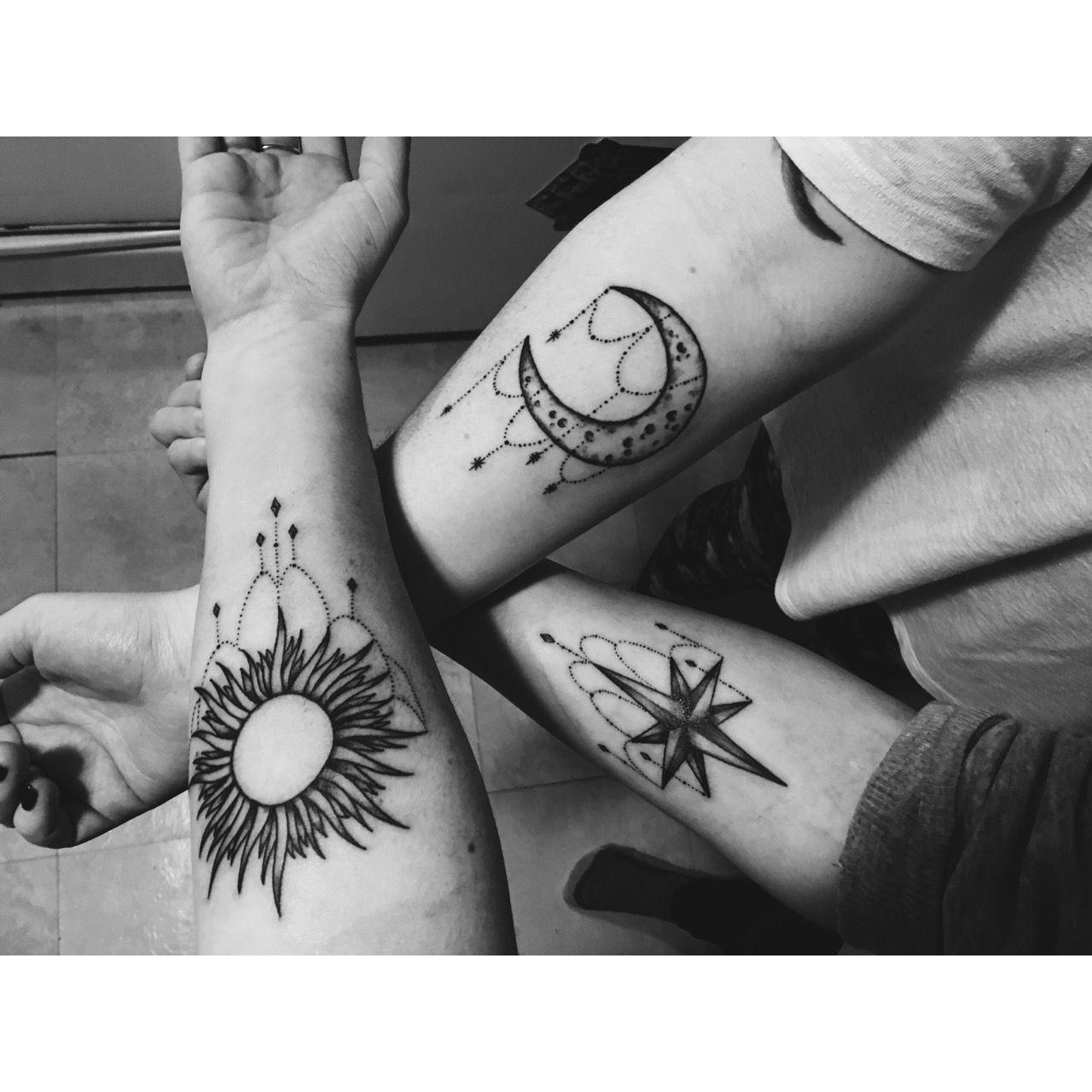 Sun star moon friendship tattoos Tattoo Ideas