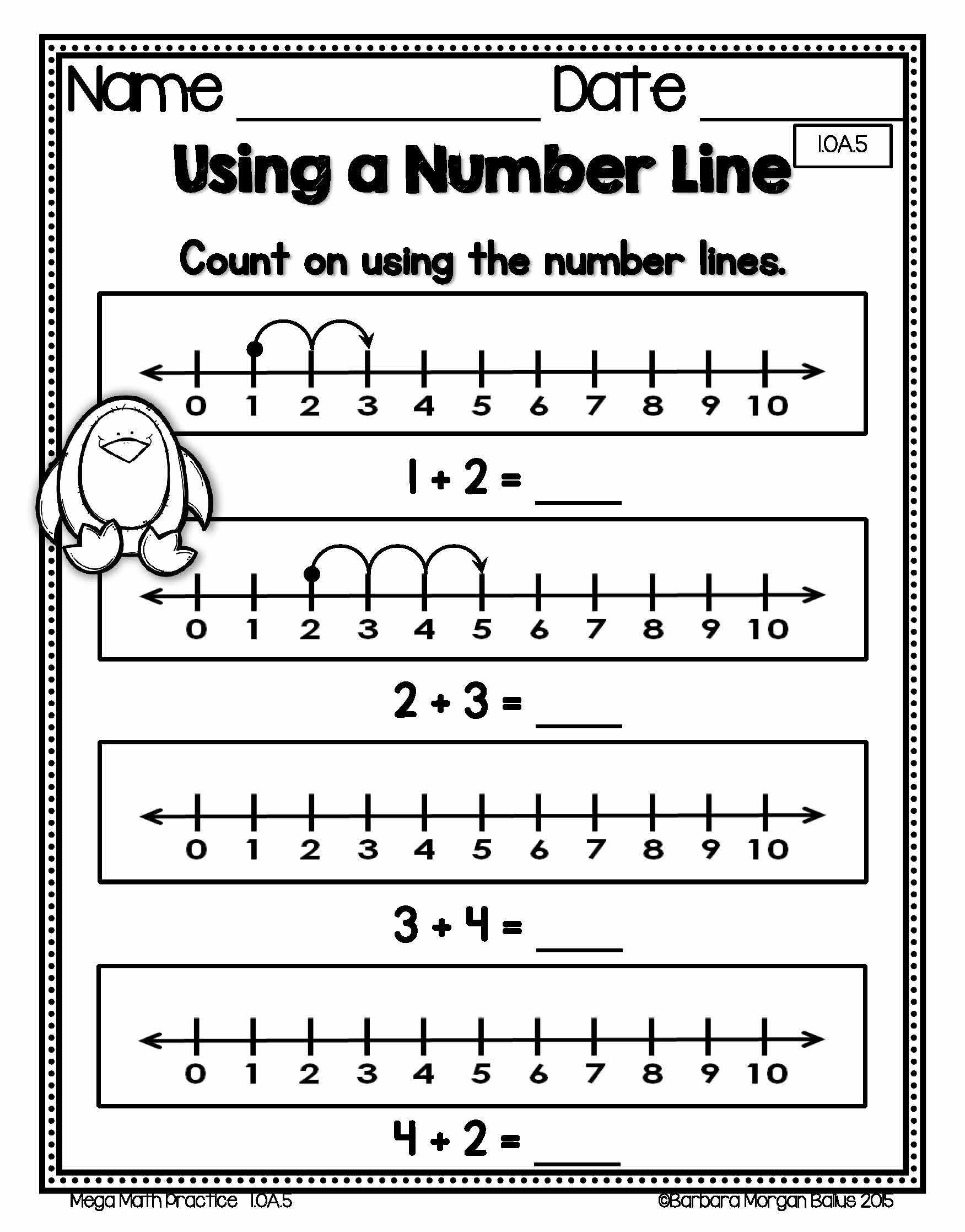 How To Use A Number Line In First Grade Number Sense Practice For The 1 Oa 5 Standard