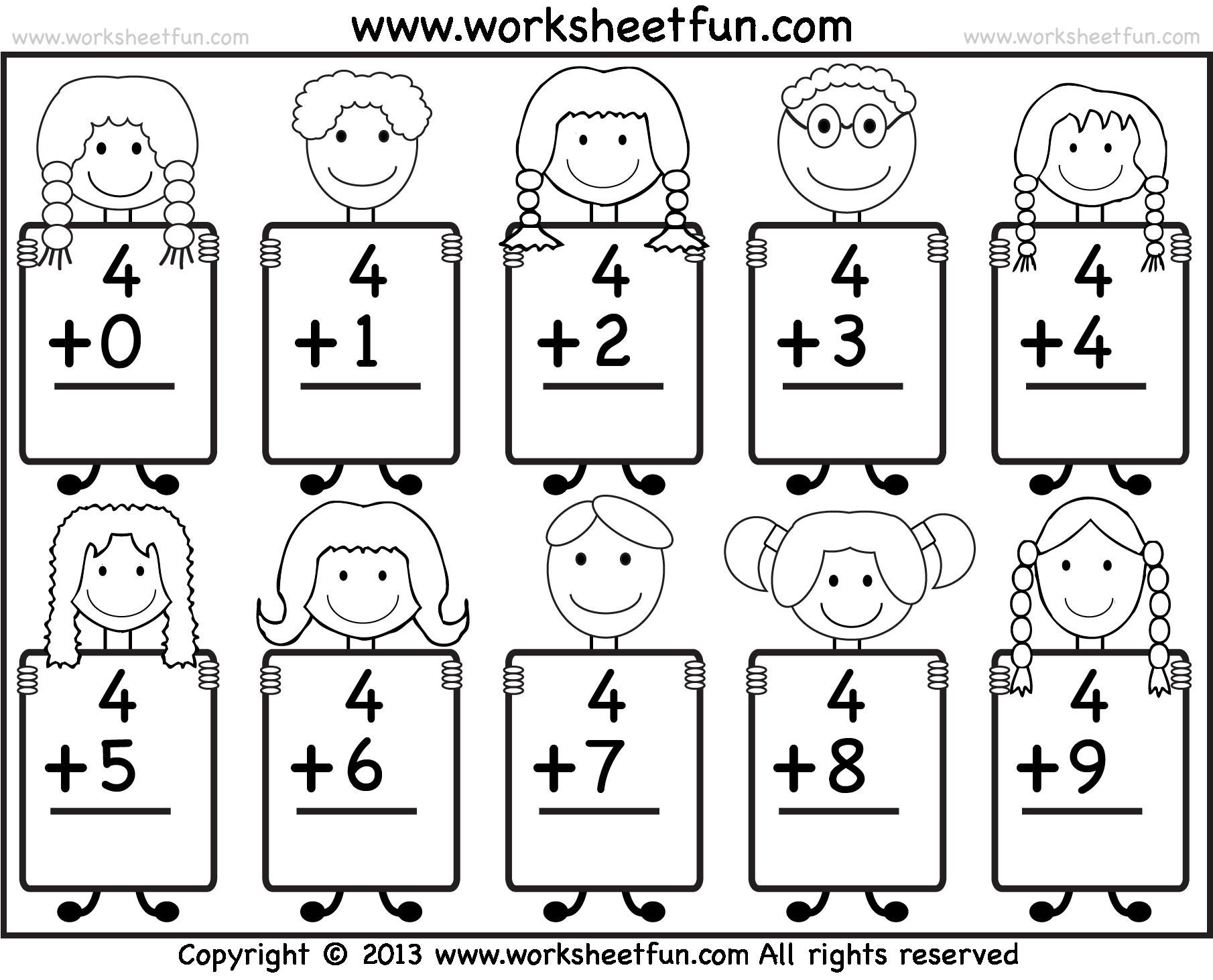 Free Printable Math Worksheets For Kindergarten Addition 1