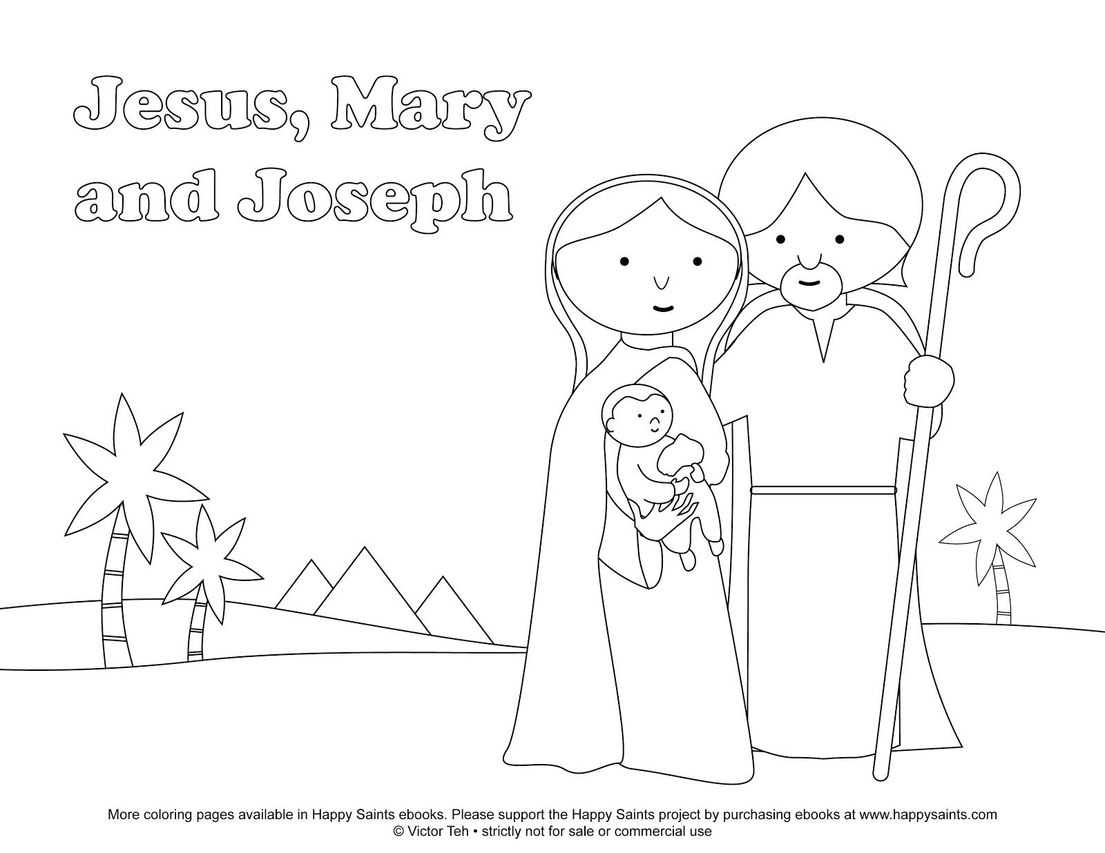 Happy Saints Free Coloring Page Of The Holy Family