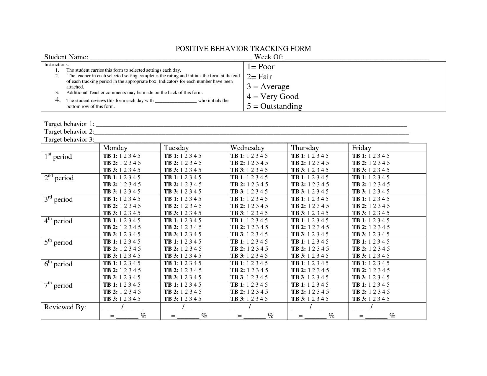 Individual Student Behavior Chart Printable