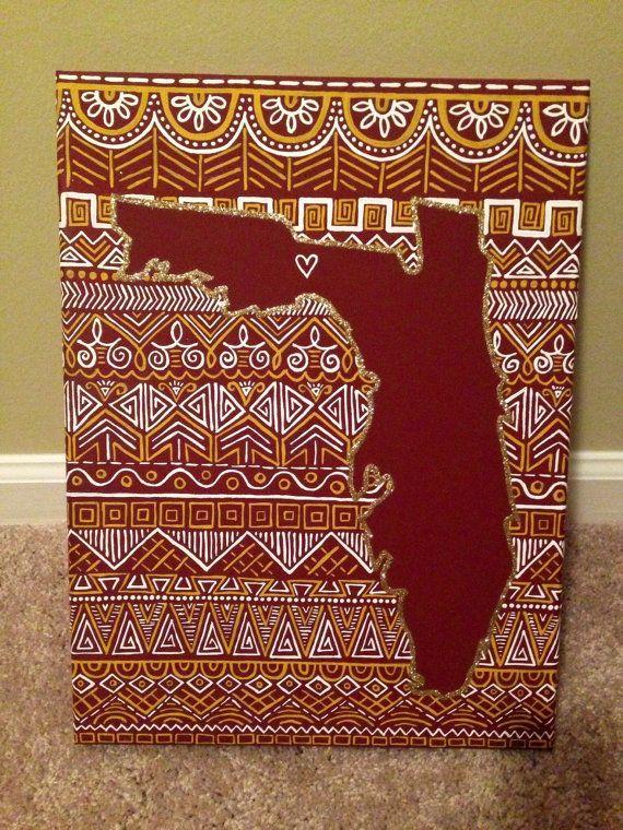 FSUThemed Canvas Painting of Florida (Tallahassee