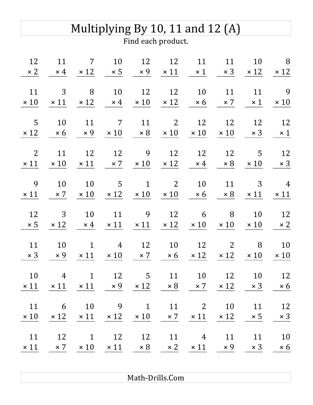 The Multiplying 1 To 12 By 10 11 And 12 A Math