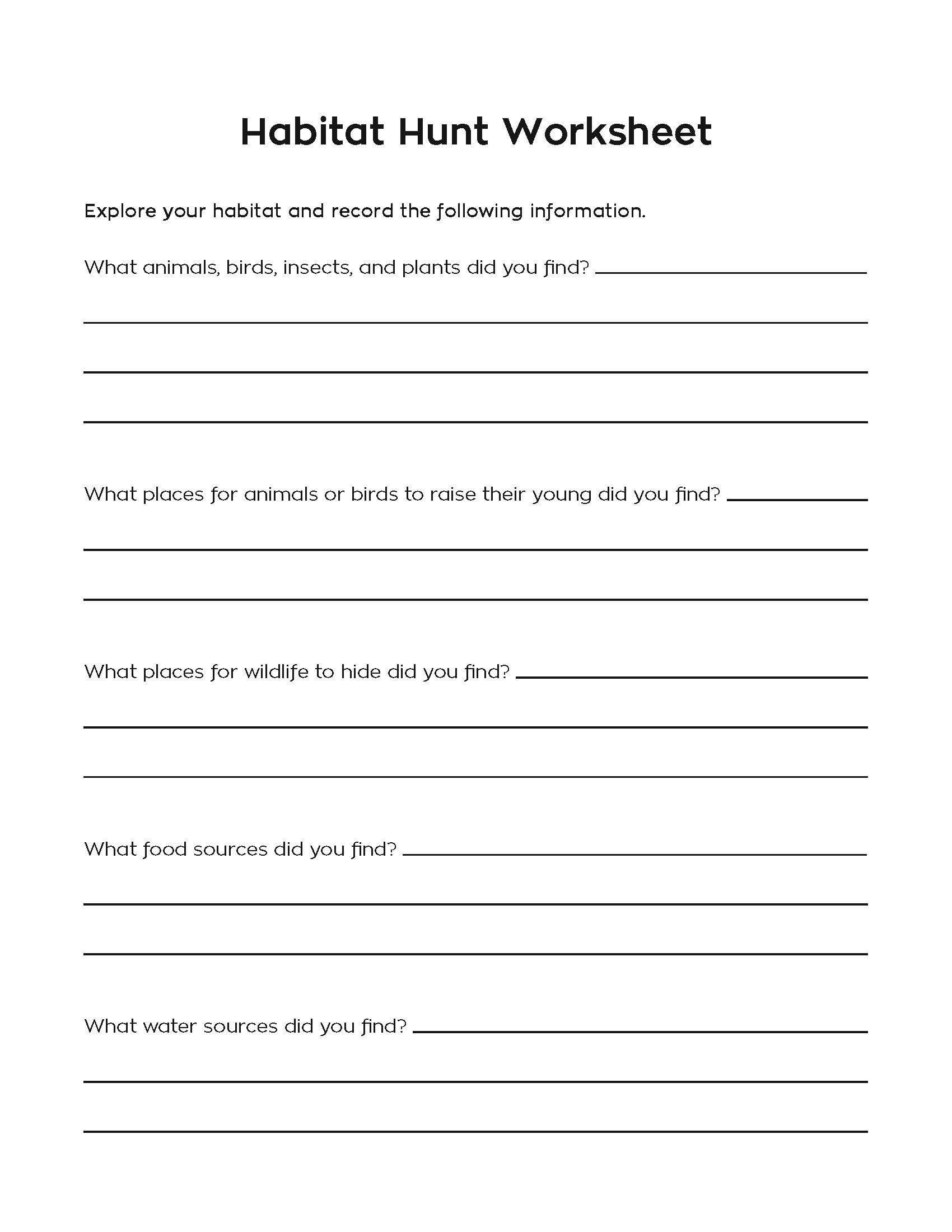 Meeting 12 Use This Worksheet For Your Habitat Hunt Helping Hand