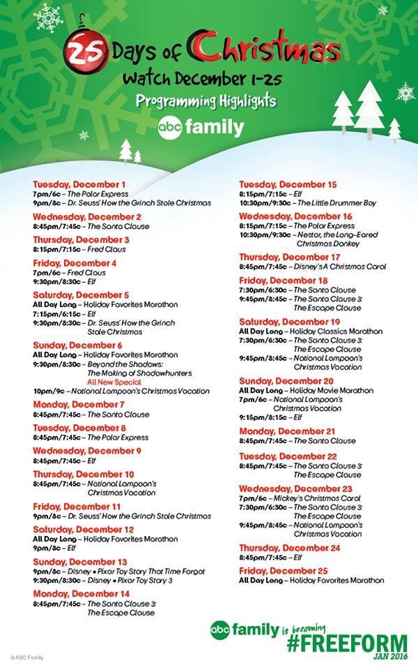 ABC FamilyFreeform 25 Days of Christmas TV Schedule 2016