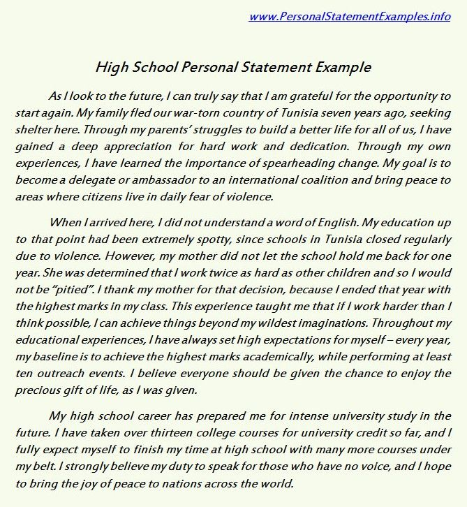 High School Personal Statement Examples for Guidance http