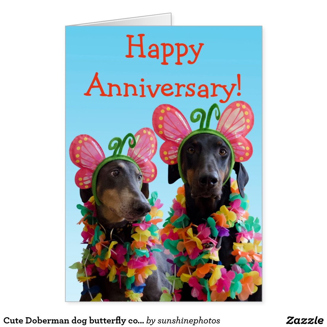 Cute Doberman dog butterfly couple anniversary Card