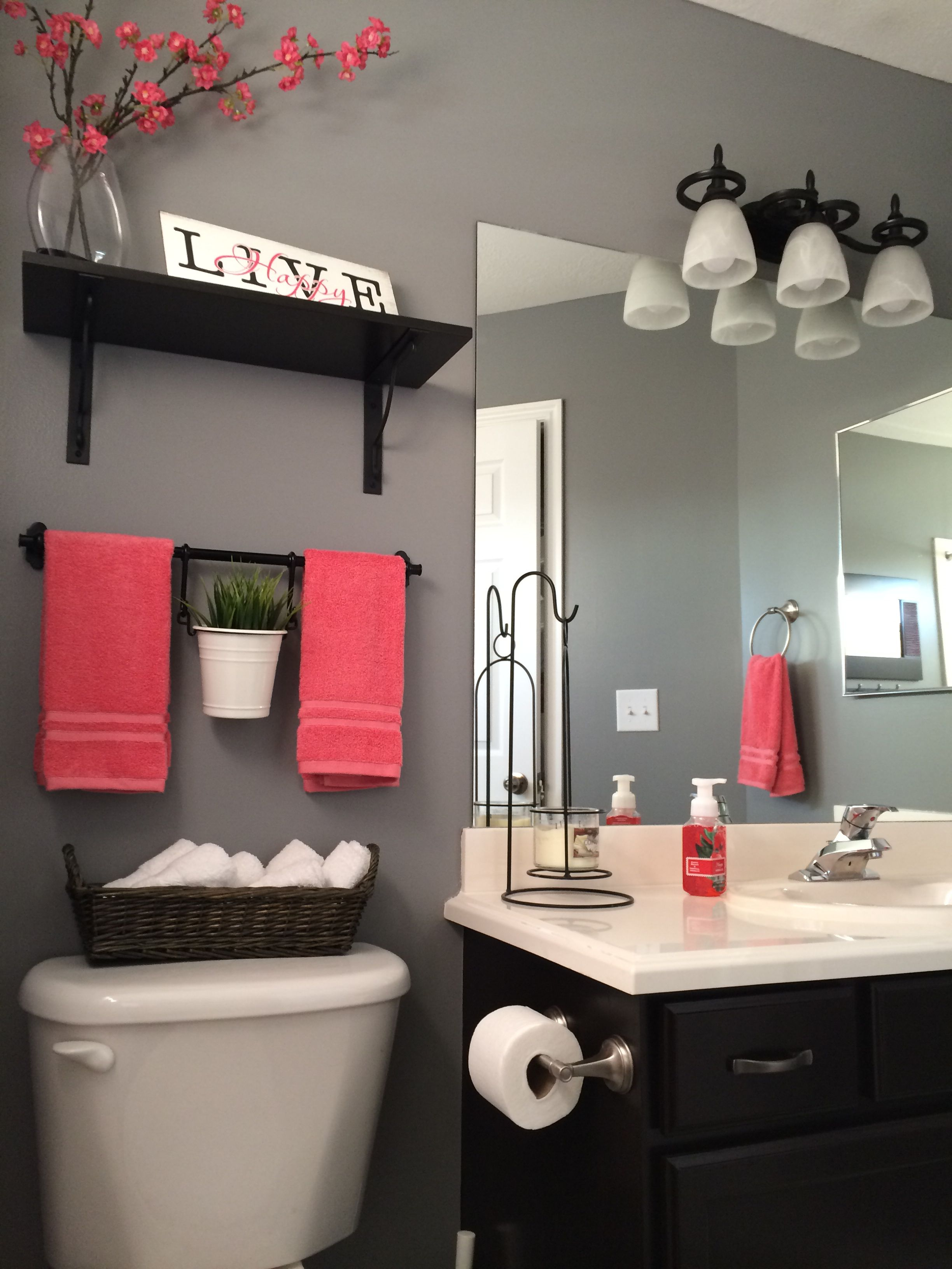 my bathroom remodel. love it!!! kohls towels kohls shower curtain