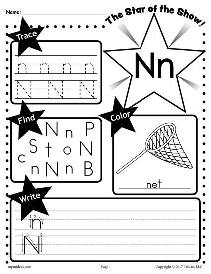 Free Letter N Worksheet Tracing Coloring Writing Amp More