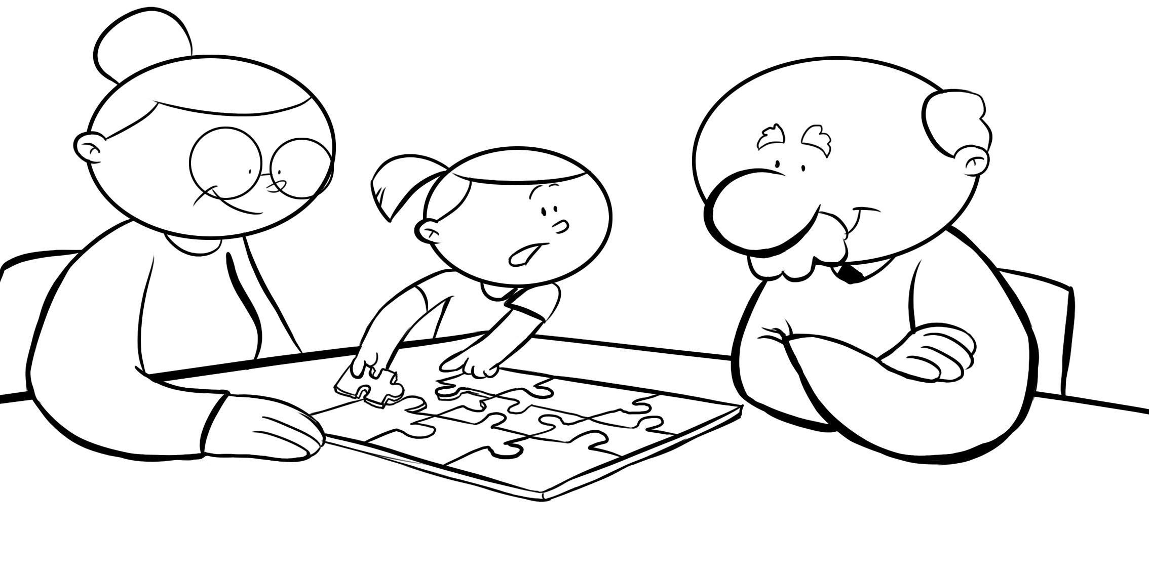 Dibujos Con Ninos Colorear Abuelos Haciendo Un Puzzle Con