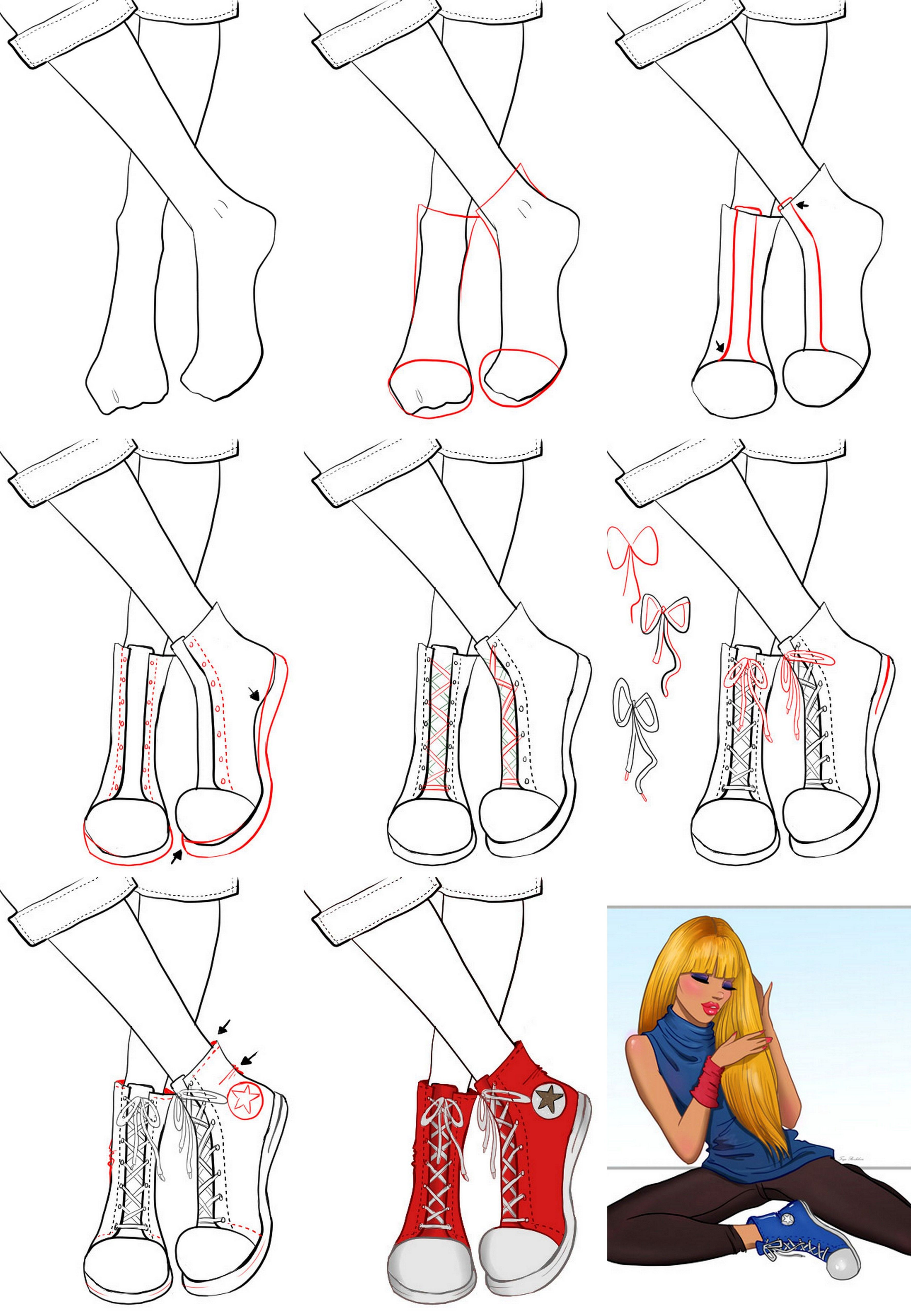 A step by step tutorial on how to draw sneakers. Easy