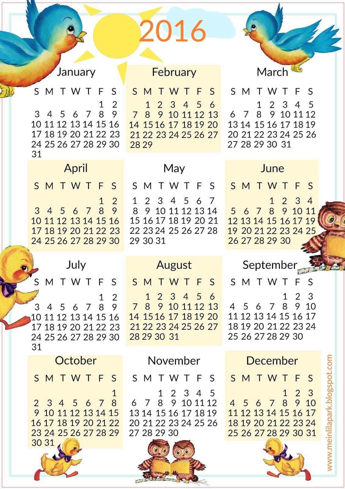 Free Printable Calendar For Kids