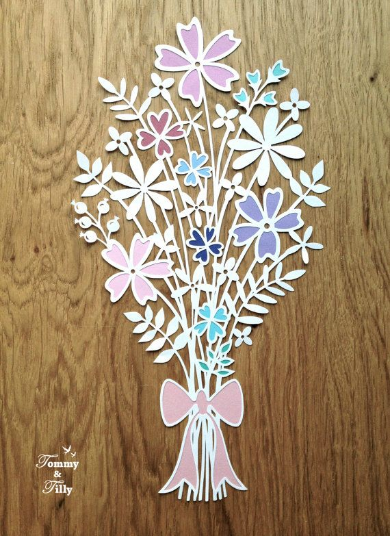Flower Bouquet Design Papercutting Template to print and