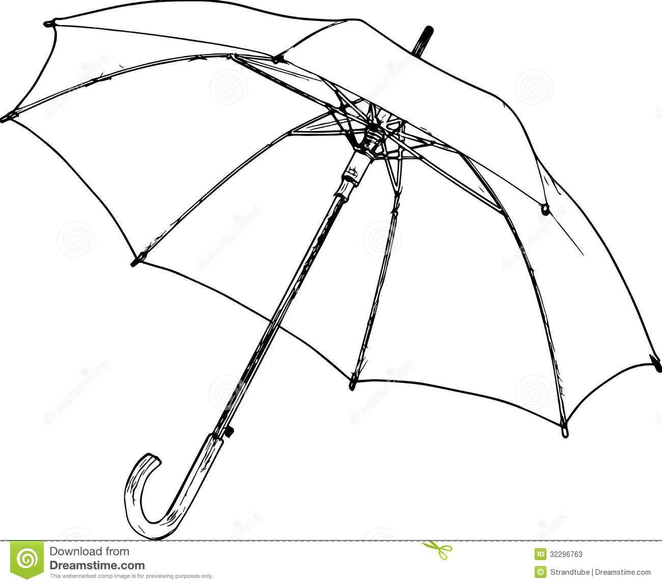 Umbrella And Rain Conceptual Sketch On Chalkboard