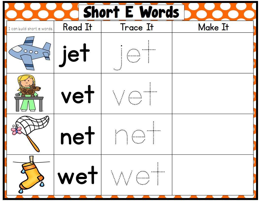 Cvc Words Short Vowel Word Families Read It Trace It Make It