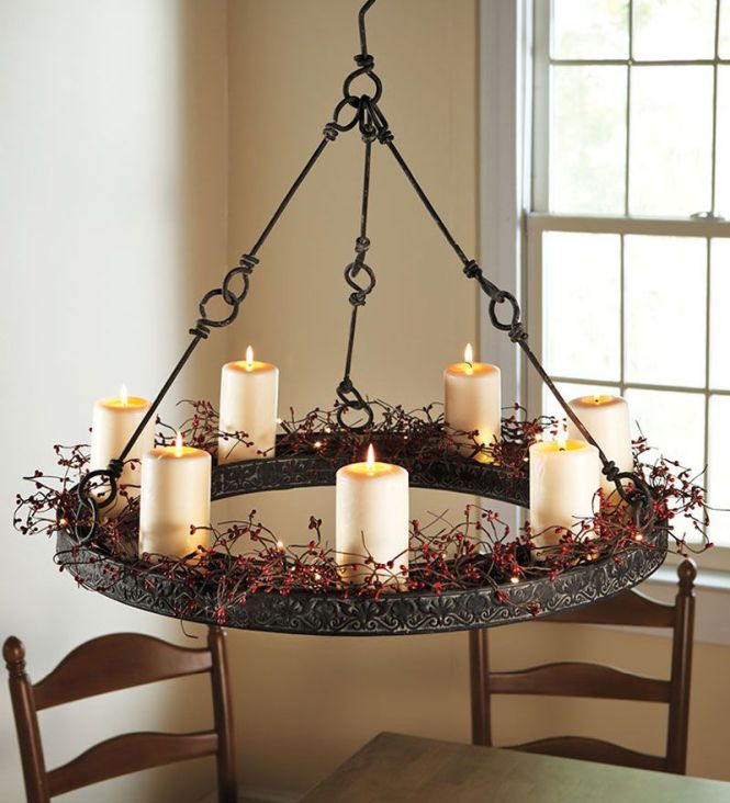 Metal Hanging Candle Chandelier And Led Pillar Candles Plow Amp Hearth
