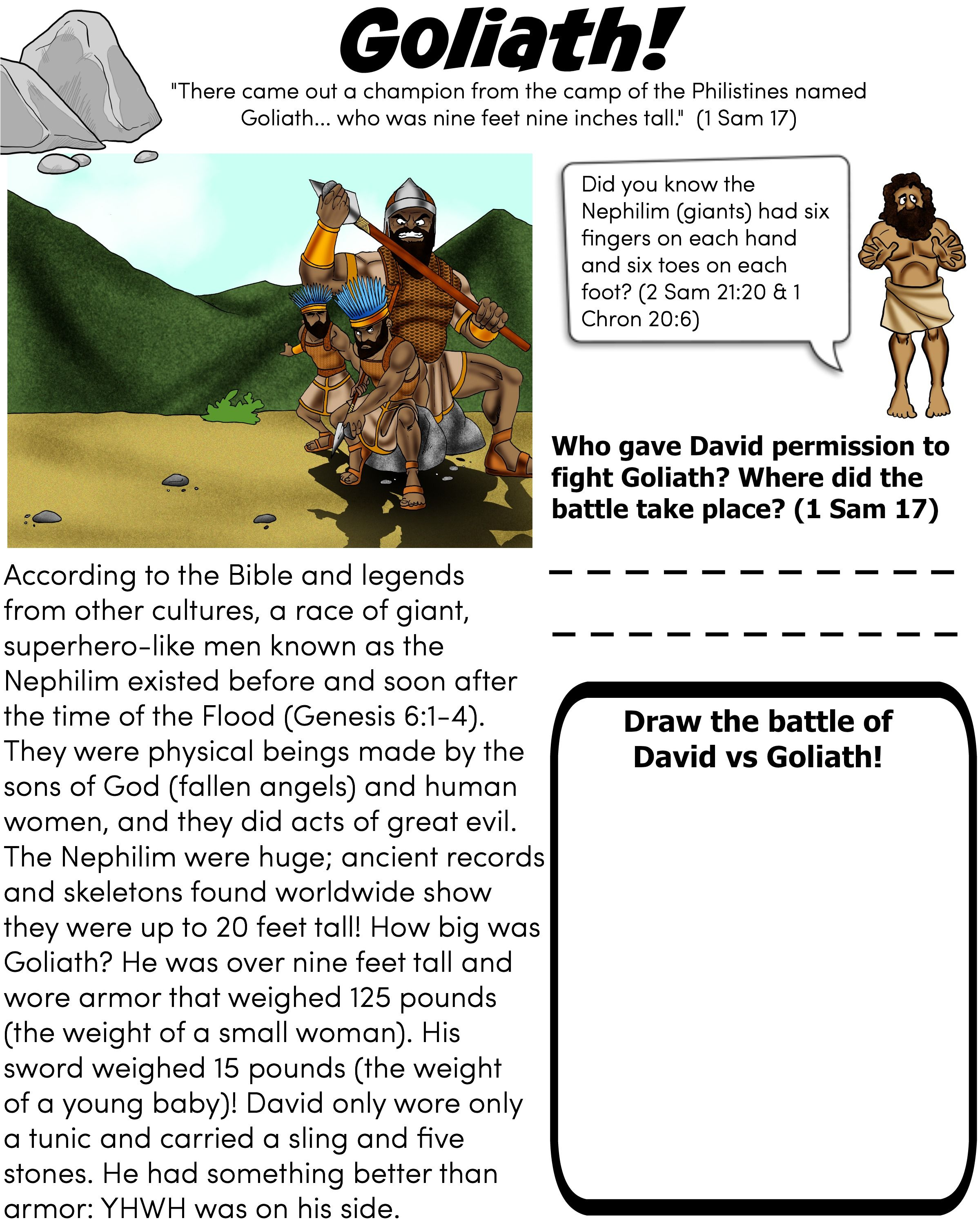Learn More About The Giant Goliath Free Downloadable Worksheet From Biblepathwayadventures