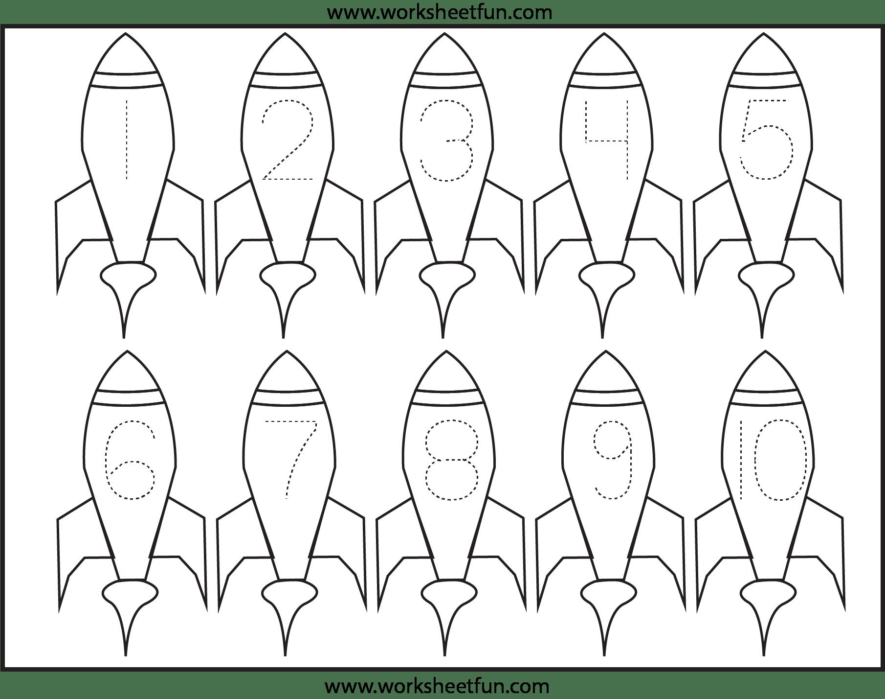 Rocket Ship Shapes Worksheet