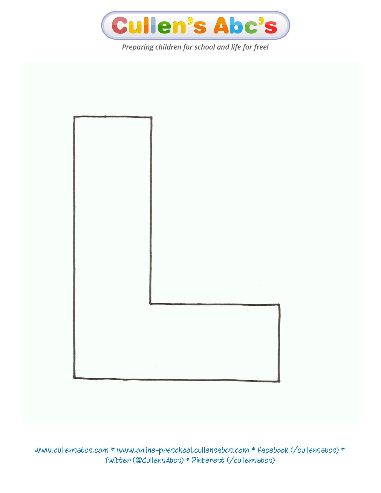 Letter L Uppercase Template Llensabcs