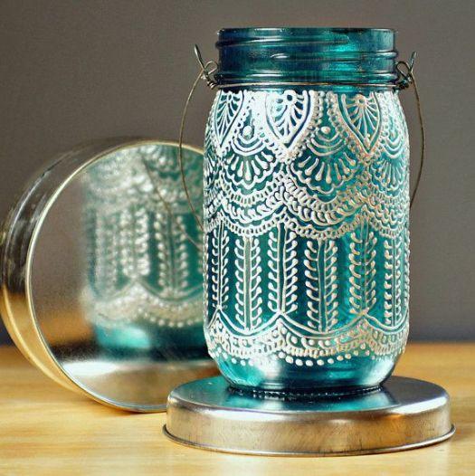 Diy Idea Hand Painted Mason Jar Lantern With Pea Blue Glass By Litdecor